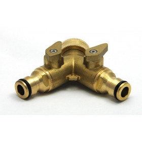 Y-connector brass double male outlet quick coupling