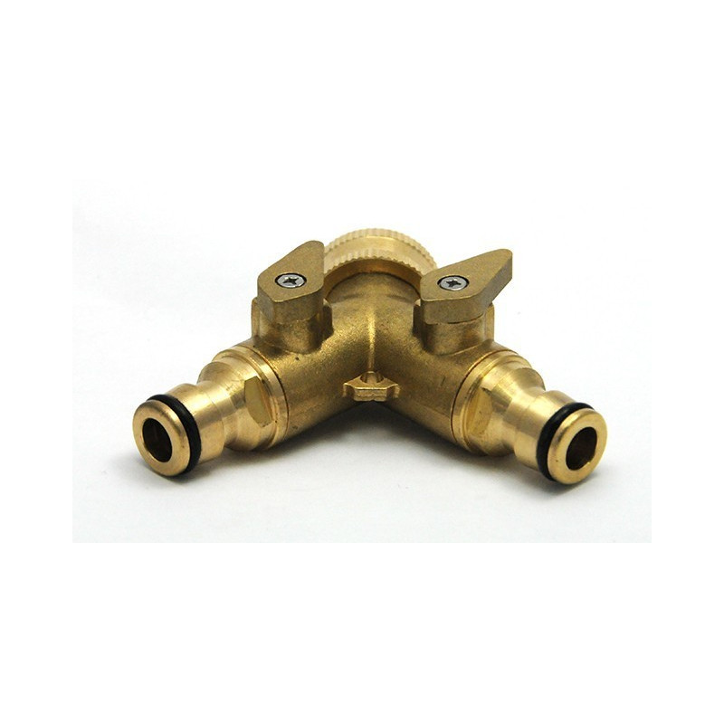 Y connector brass double outlet male quick connect