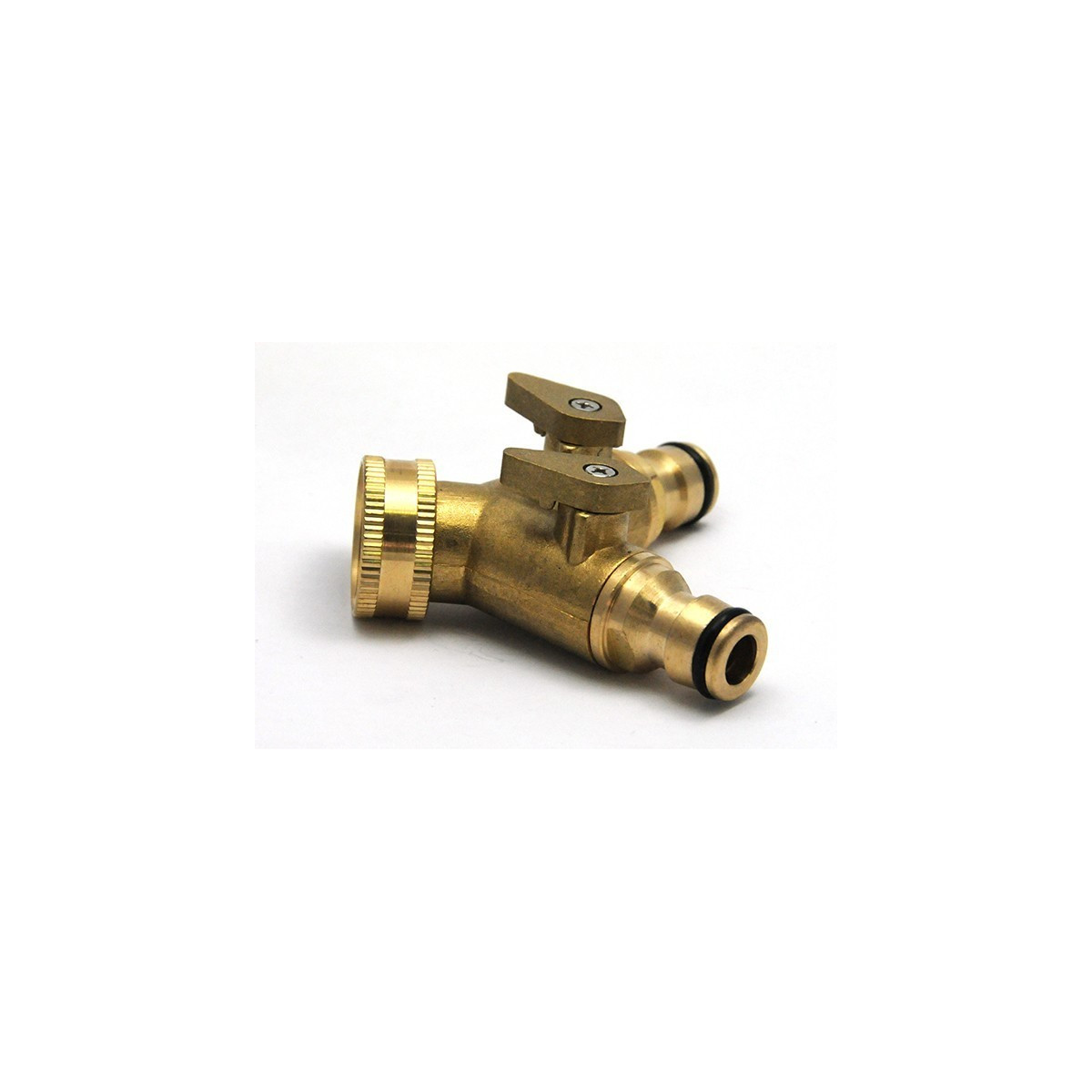 Y fitting double brass male quick connector output