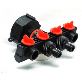 S60x6 female connector - 4-way watering outlet