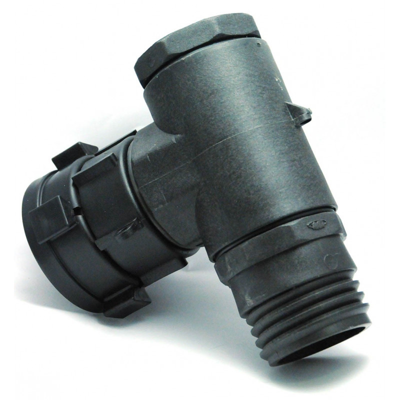 Female fitting S60x6 rotating nut with 90 ° elbow and male output S60x6