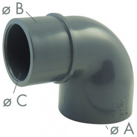 Elbow 90 ° M / F or 90 ° F / F reduced elbow in PVC