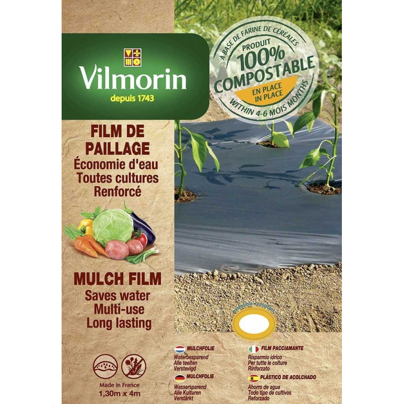 Mulching film all crops low thickness - cereal flour - 1.30m x 8m 18μm