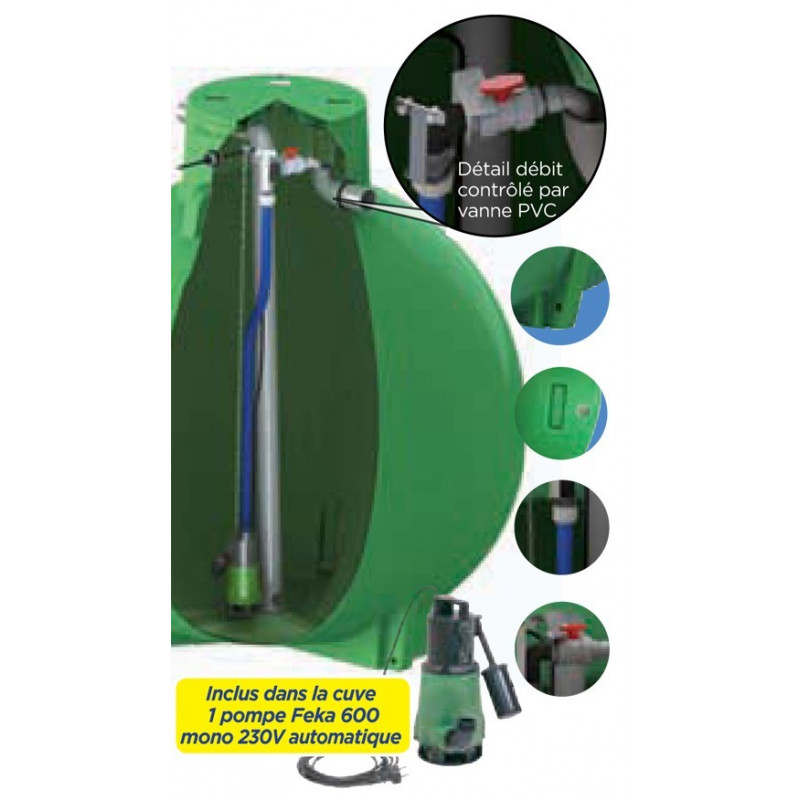 Ecoregul rainwater regulating tank with pump, high outlet