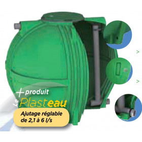 Ecoregul rainwater regulating tank low outlet with adjustable nozzle