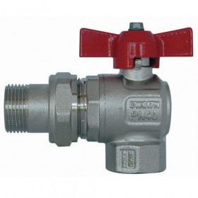 Chrome plated brass ball valve, male / female 3/4 ''