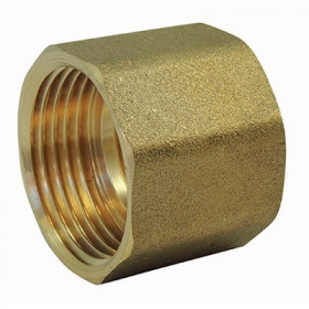 Brass screw connection: Female / Female tapped sleeve with brass center stop
