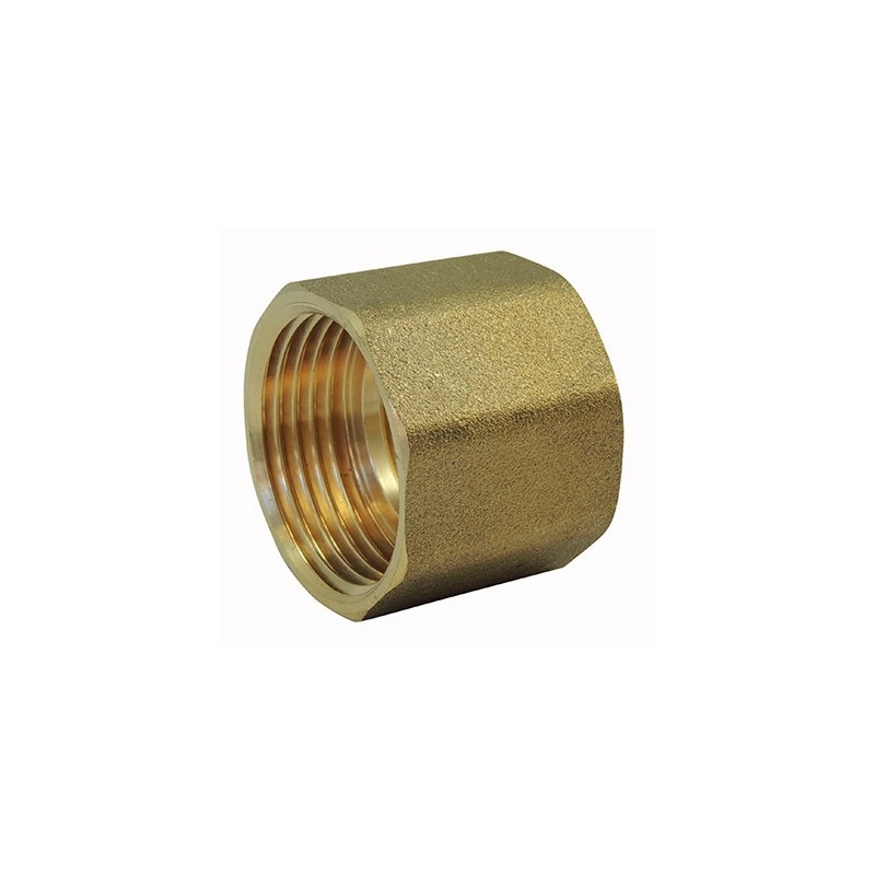 Brass fitting: Threaded female / female sleeve with brass center stop