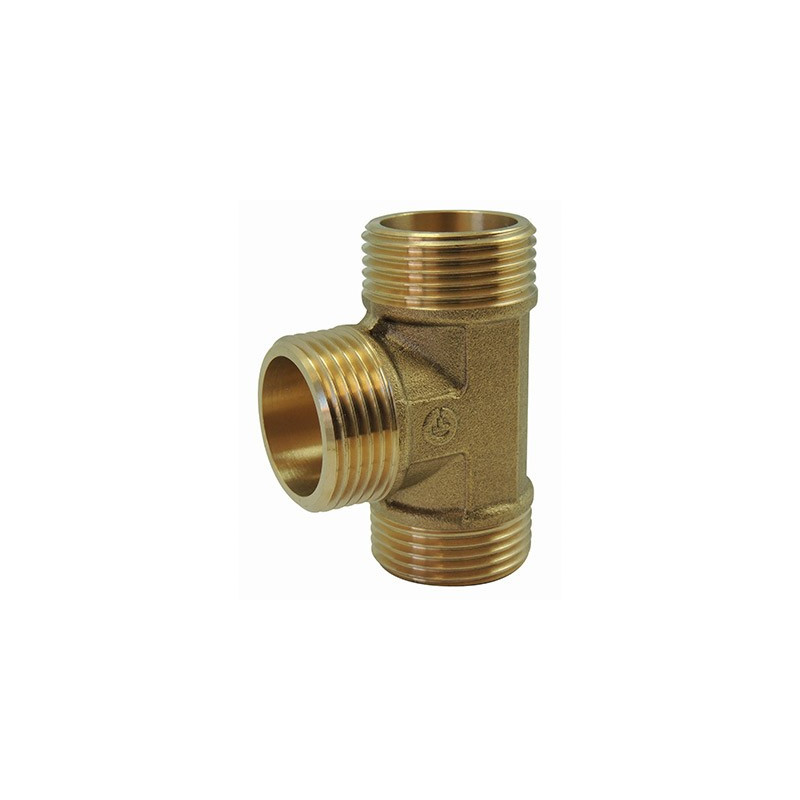 Screw-in brass fitting: Equal tee Male / Male / Male