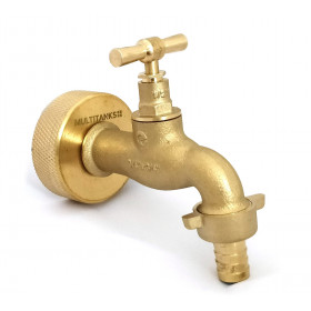 S60x6 brass fitting with brass tap and 15mm fluted outlet