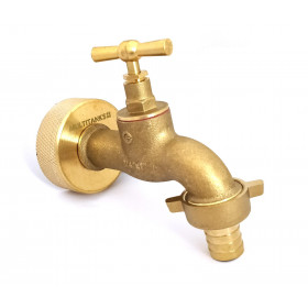 S60x6 brass fitting with brass tap and 19mm fluted outlet