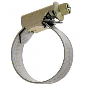 Zinc plated steel clamp, yellow chrome with hexagonal slotted screw