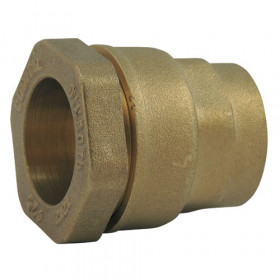 Brass compression fitting for straight PE female pipe - short model