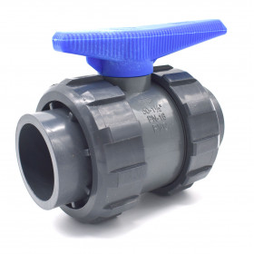 PVC ball valve double union - water serie - female connection to stick