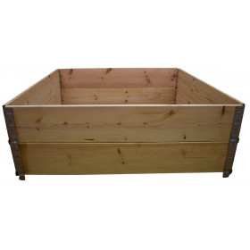 Square vegetable garden in natural wood 1200x1200mm height 390mm