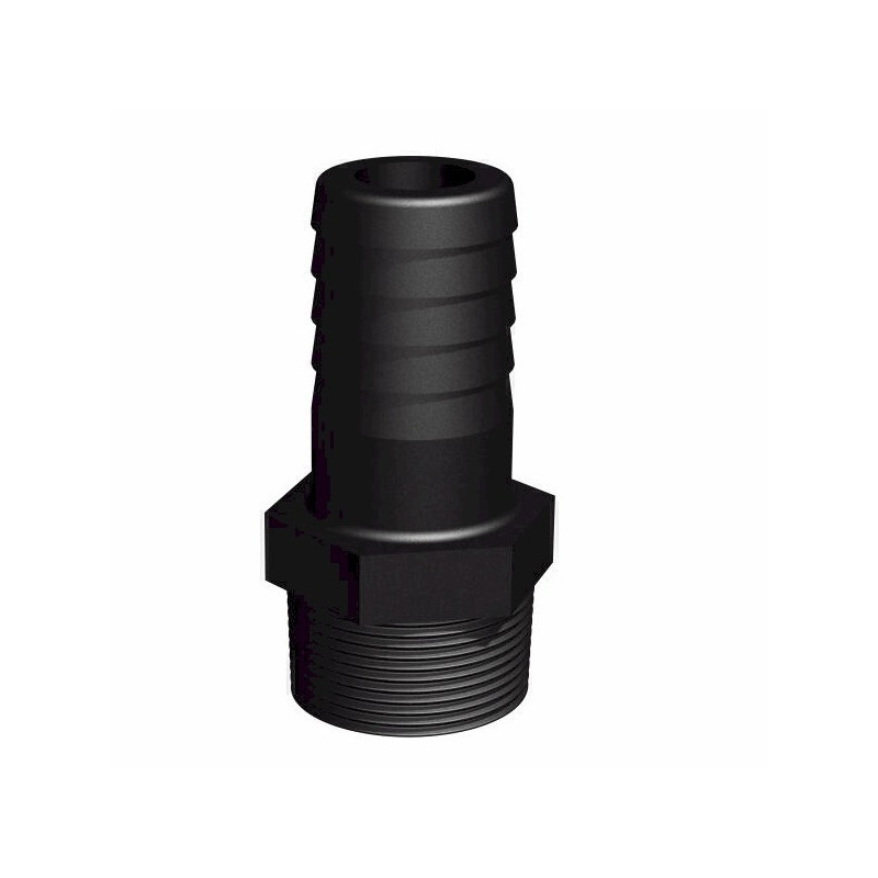 """Product sheet Male connector 1-1 / 2 """"- straight barbed Ø38mm"""