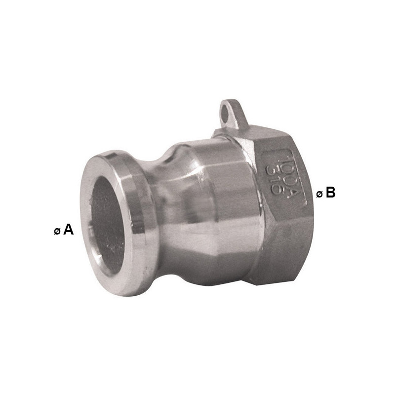 Male Camlock coupling - female threaded stainless steel - Type A