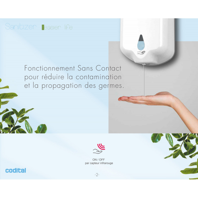 Distributeur automatique de gel hydroalcoolique sans contact
