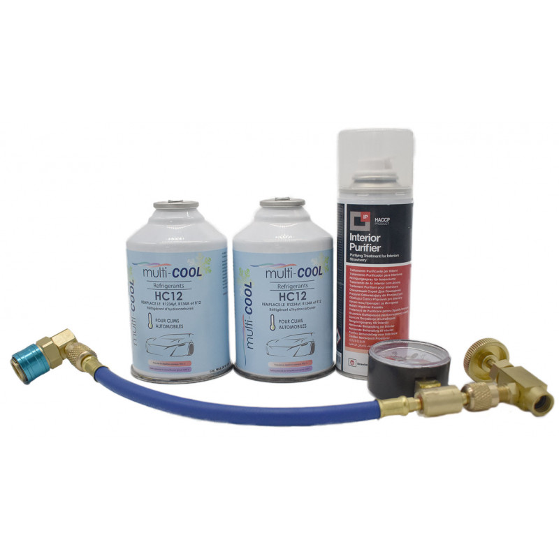 Multicool 12a charging pack, replaces the r12, r134a and 1234yf, with hose and M12 faucet - 2 x 160grs